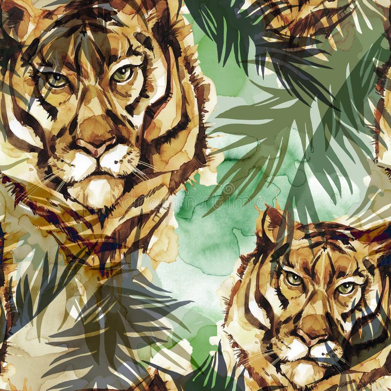 Watercolor exotic seamless pattern. Tigers with colorful tropical leaves. African animals background. Wildlife art. Illustration. Can be printed on T-shirts stock illustration