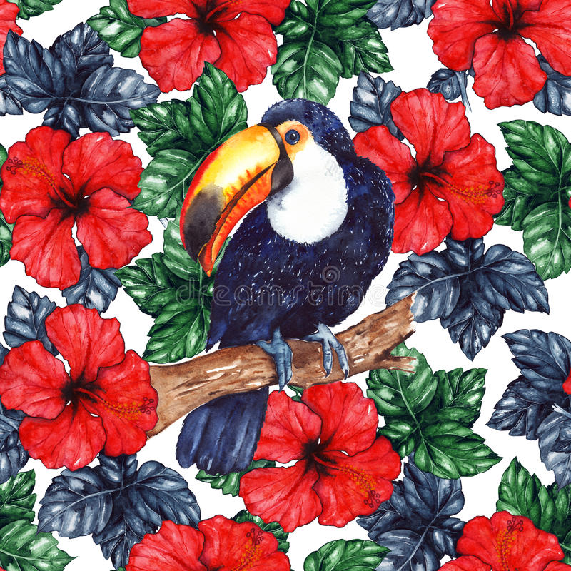 Watercolor exotic tropical flower hibiscus animal bird toucan seamless pattern texture background vector illustration