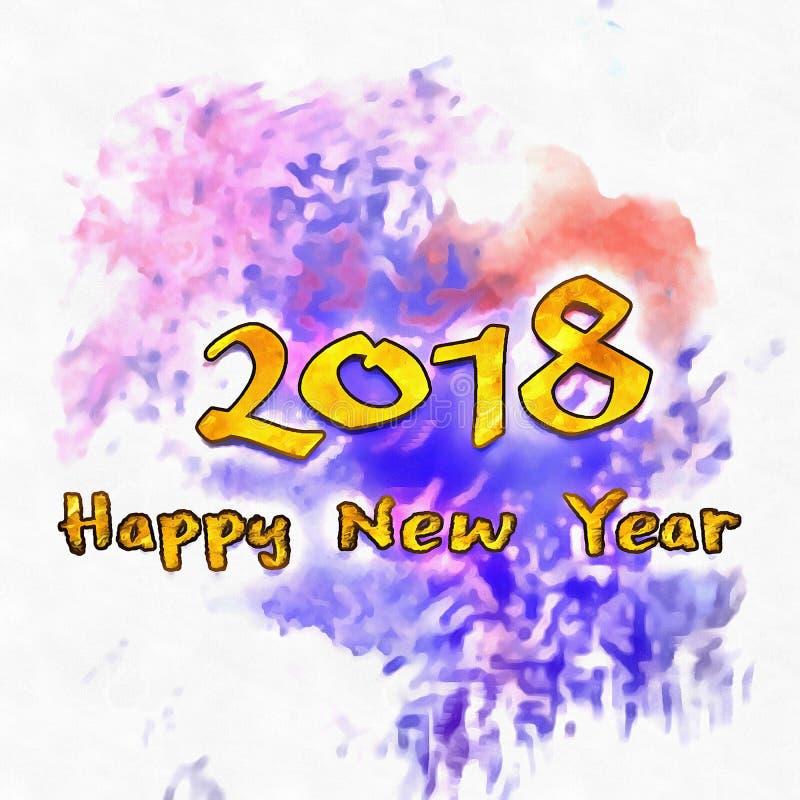 Watercolor/2018 för lyckligt nytt år stock illustrationer