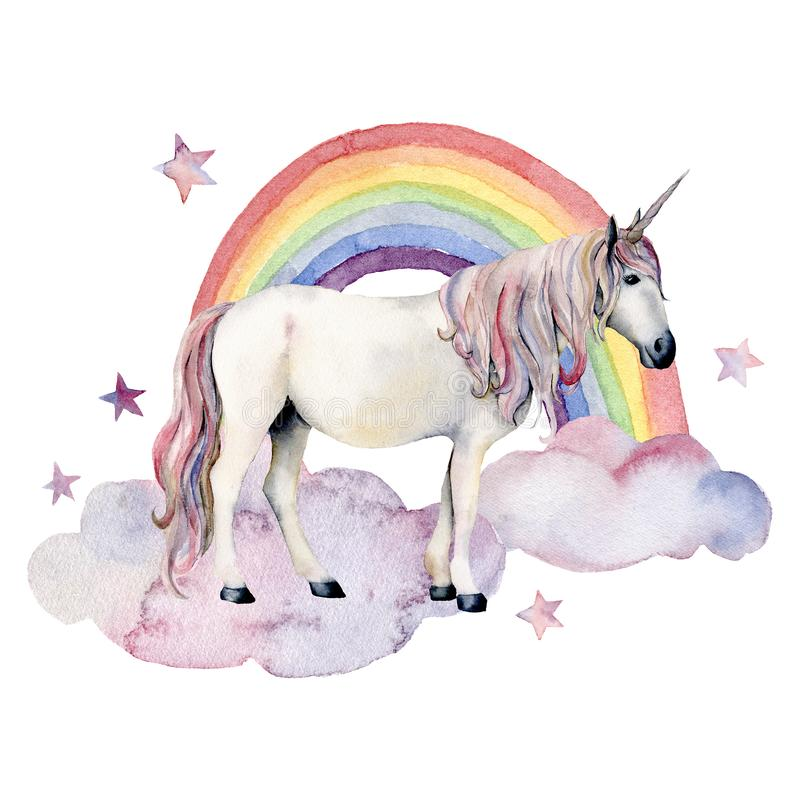 Watercolor fairy tale card witn unicorn, cloud and rainbow. Hand painted unicorn, colorful rainbow and stars isolated on. White background. Fantasy illustration royalty free illustration