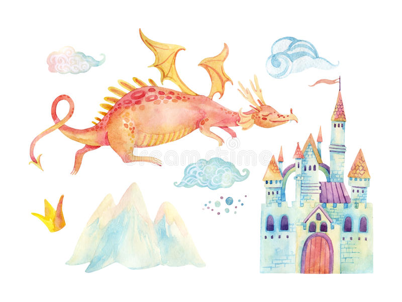 Watercolor fairy tale collection with cute dragon, magic castle, mountains and fairy clouds. Watercolor fairy tale collection with cute dragon, magic castle