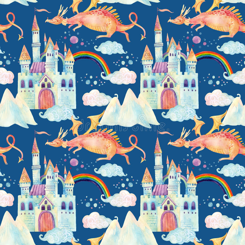 Watercolor fairy tale seamless pattern with cute dragon, magic castle, mountains and fairy clouds stock illustration