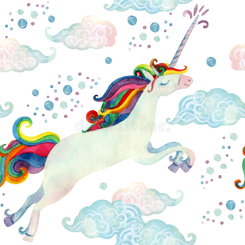 Watercolor fairy tale seamless pattern with flying unicorn, magic clouds and rain royalty free illustration