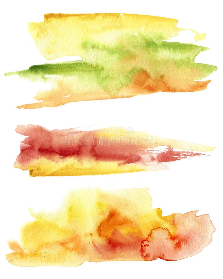 Watercolor fall abstract texture. Hand painted red, green and yellow abstract background. Autumn illustration for design stock illustration