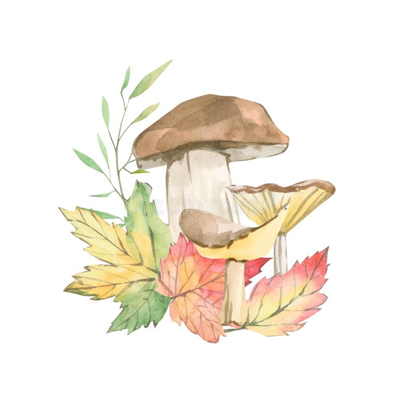 Watercolor fall with branches foliage inspirated by forest garden greenery and plants, mushrooms. Green and red foliage background. For posters, templates royalty free illustration