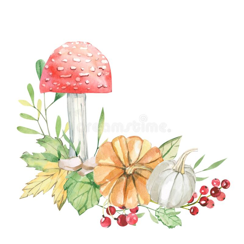 Free Watercolor Fall Card With Leaves, Branches, Mushrooms And Barries Isolated On White Background. Botanic Composition For Greeting C Stock Photo - 157740060