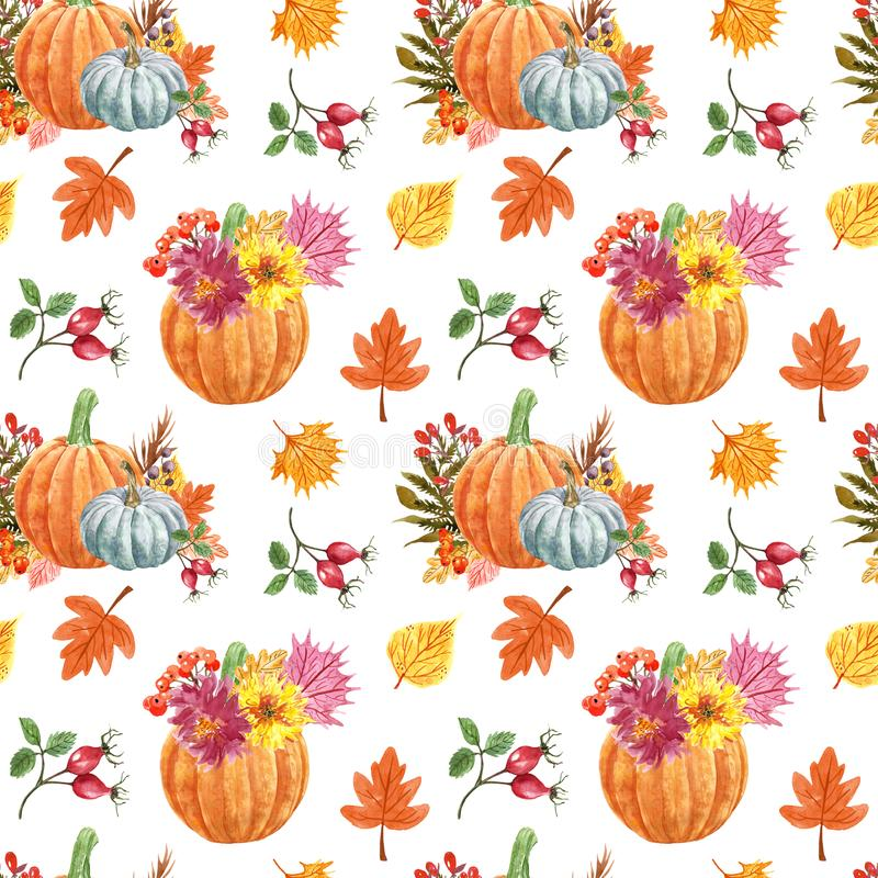 Free Watercolor Fall Plants Seamless Pattern. Hand Painted Pumkins Illustration, Orange, Red And Yellow Leaves And Berries Royalty Free Stock Photography - 156088507
