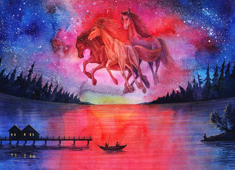 Watercolor fantasy cosmic horses landscape, beautiful abstract space painting with stars in sky and night forest, galaxy drawing a stock illustration