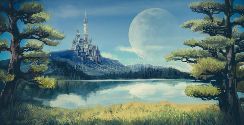 Watercolor fantasy illustration of a natural riverside lake. Forest landscape with ancient medieval castle on the rocky hill mountain background and blue sky royalty free illustration