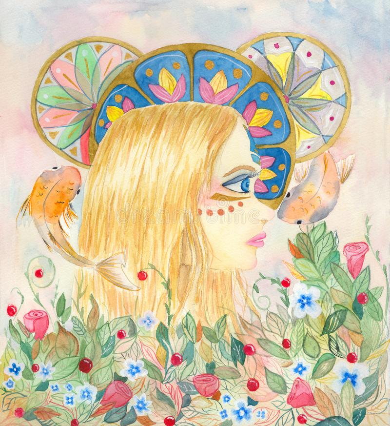 Watercolor fantasy illustration of an young blond girl stock illustration
