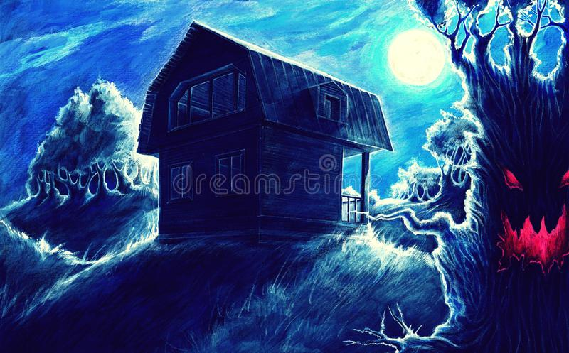 Watercolor fantasy painting, night horror landscape background with home, moon, trees, hills, fantasy drawing, mysterious dark stock illustration
