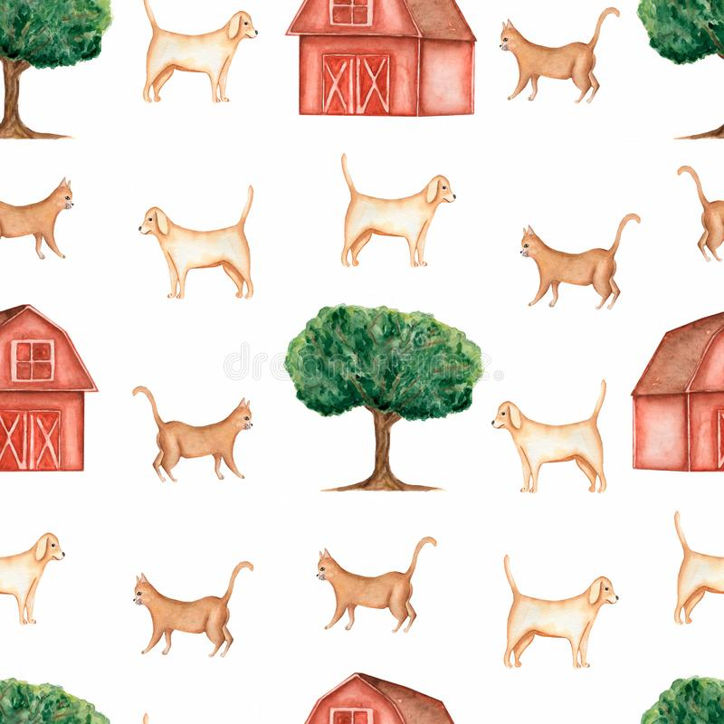 Watercolor farm  seamless pattern.Domestic animals. Hand drawn objects:cat,dog,tree,barn. Hand drawn background. vector illustration