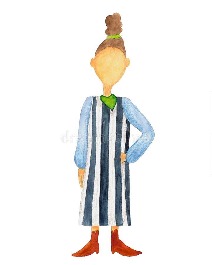 Watercolor fashion girl in striped dress vector illustration