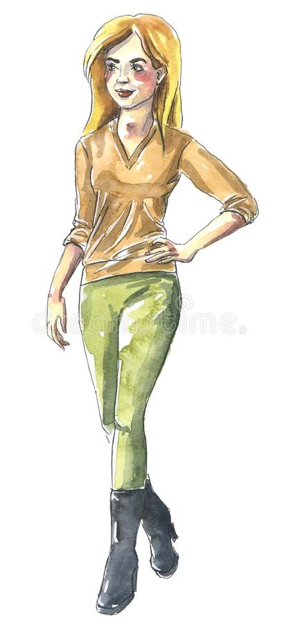 Watercolor fashion illustration, girl with blond hair in yellow blouse and green pants, autumn wear royalty free illustration