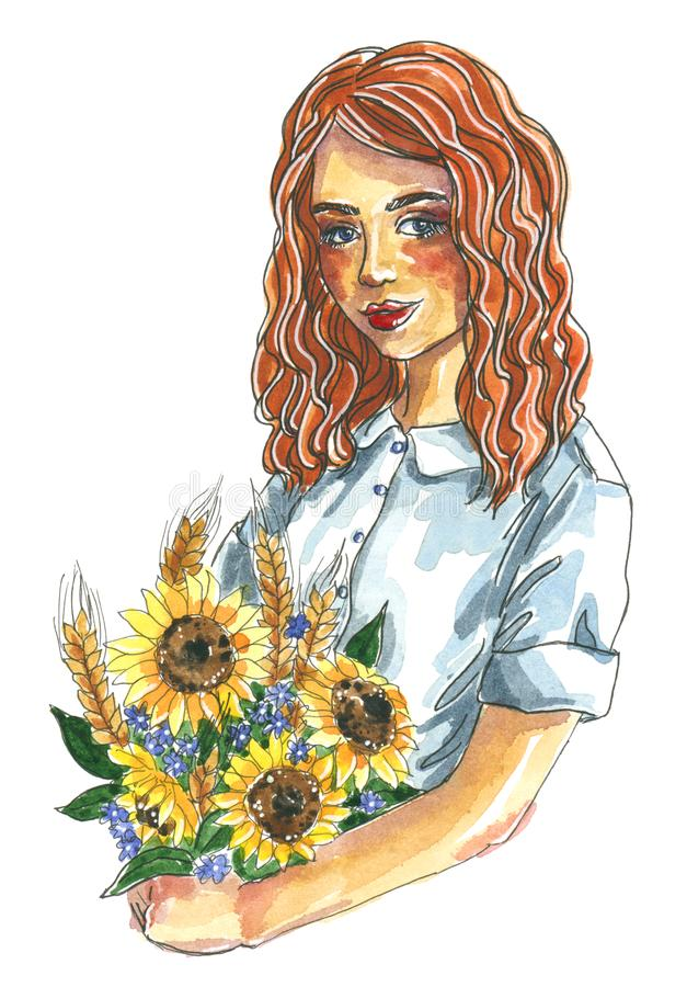 Watercolor fashion illustration, girl with a summer bouquet of yellow sunflowers royalty free illustration