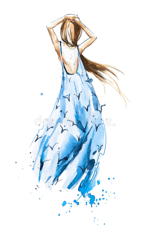Watercolor fashion illustration, girl in a summer dress looking in the distance vector illustration