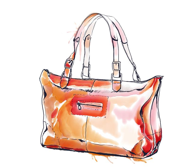 Watercolor fashion illustration with purse, female brown handbag royalty free illustration