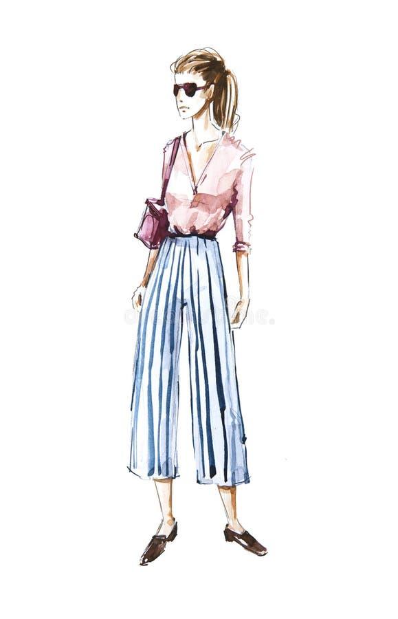 Watercolor fashion illustration, street style vector illustration