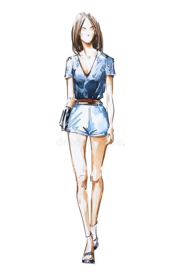 Watercolor fashion illustration, street style. royalty free illustration