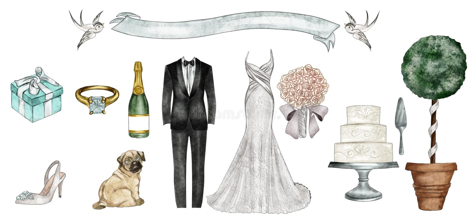 Watercolor Fashion Illustration - Wedding outfit set. Cake and accessories royalty free illustration