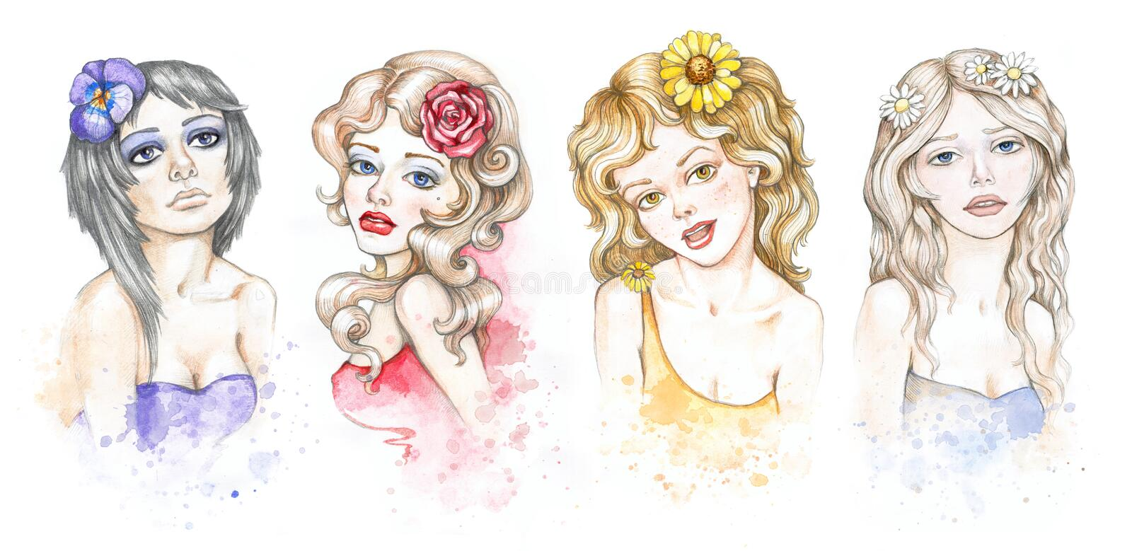 Watercolor fashion illustrations collection vector illustration