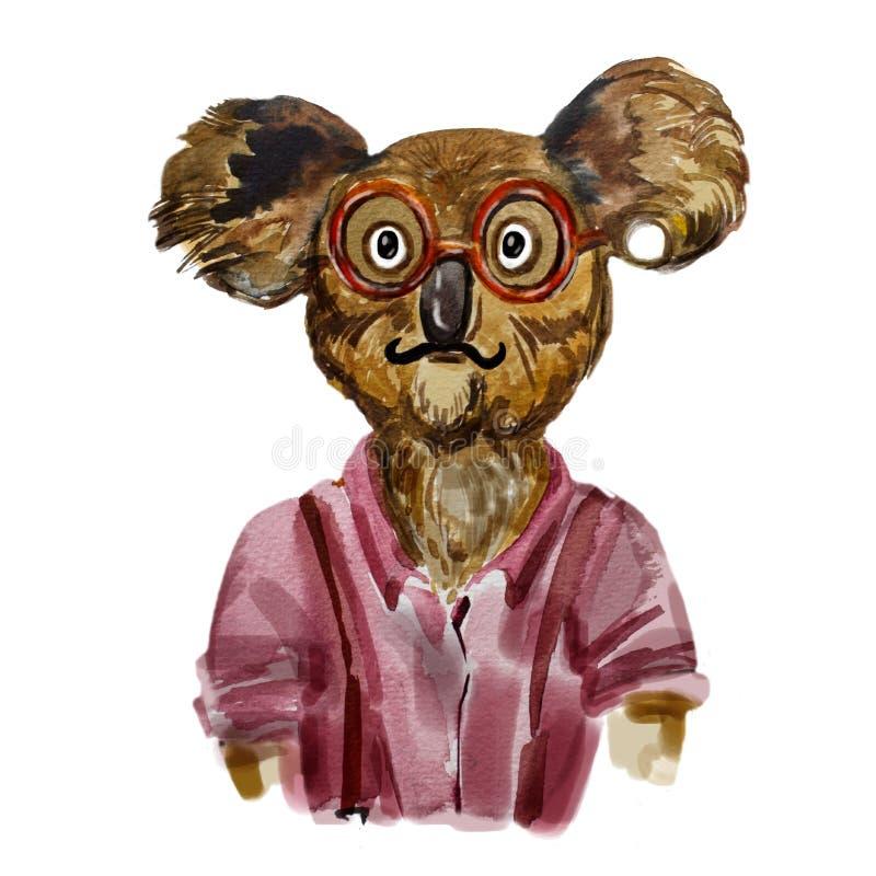 Watercolor fashion portrait of koala boy hipster. royalty free illustration