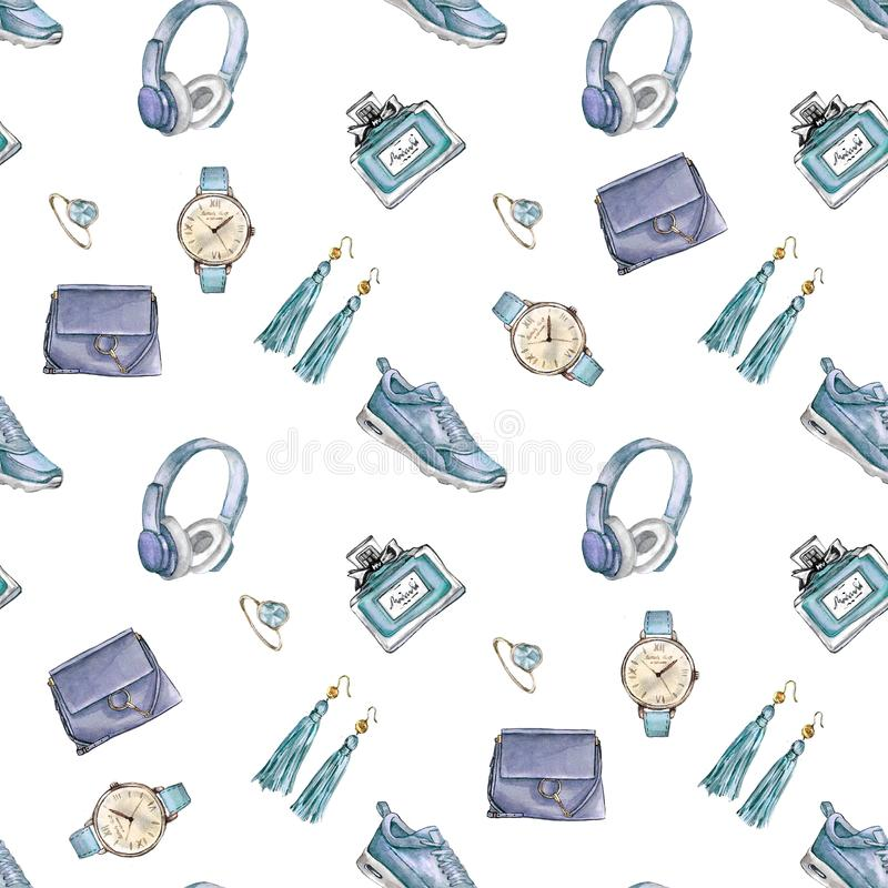 Watercolor Fashion seamless pattern. Set of trendy accessories. Bag, earrings, watches, sneakers, perfume,ring. Hand drawn illustration stock illustration