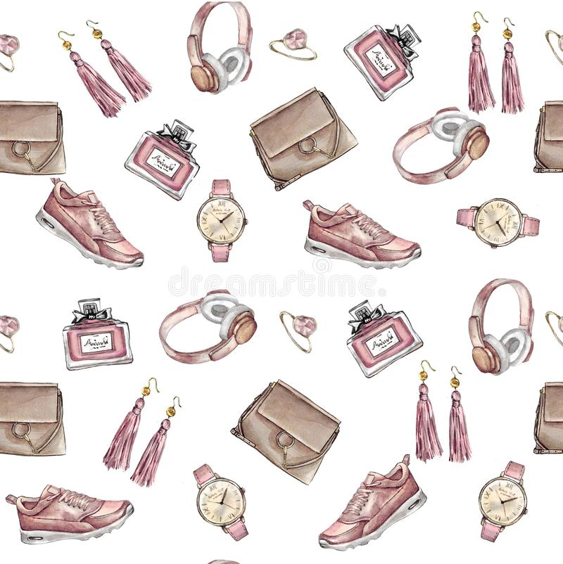Watercolor Fashion seamless pattern. Set of trendy accessories. Bag, earrings, watches, sneakers, perfume,ring. Hand drawn illustration vector illustration