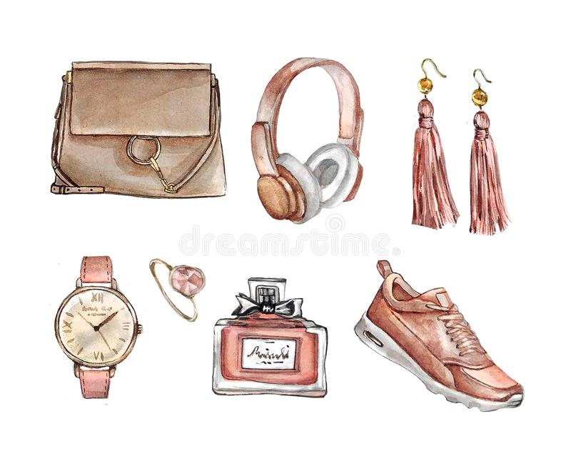Watercolor Fashion Set of trendy accessories. Bag, earrings, watches, sneakers, perfume,ring. Hand drawn illustration stock illustration