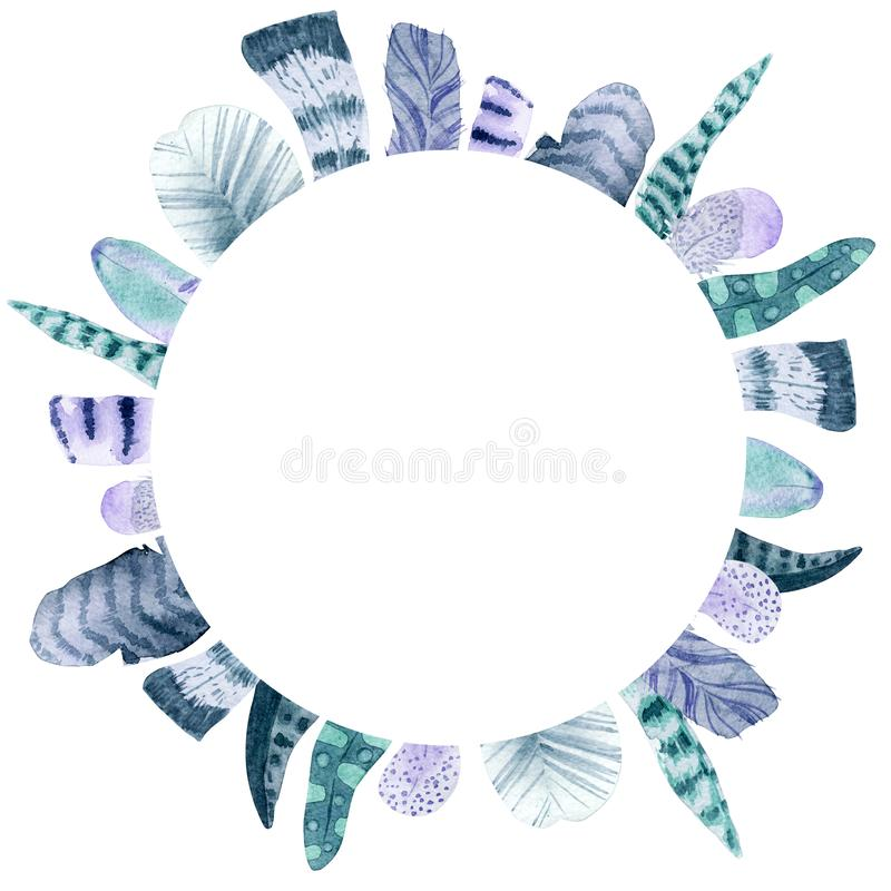 Watercolor feather circle frame royalty free illustration