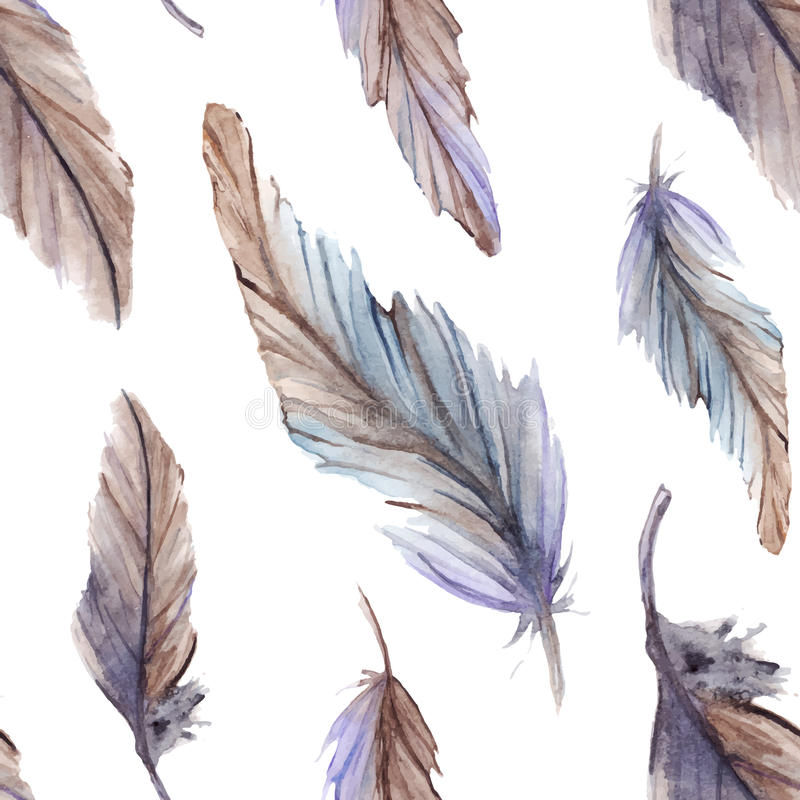 Watercolor feather ethnic boho seamless pattern background vector stock illustration