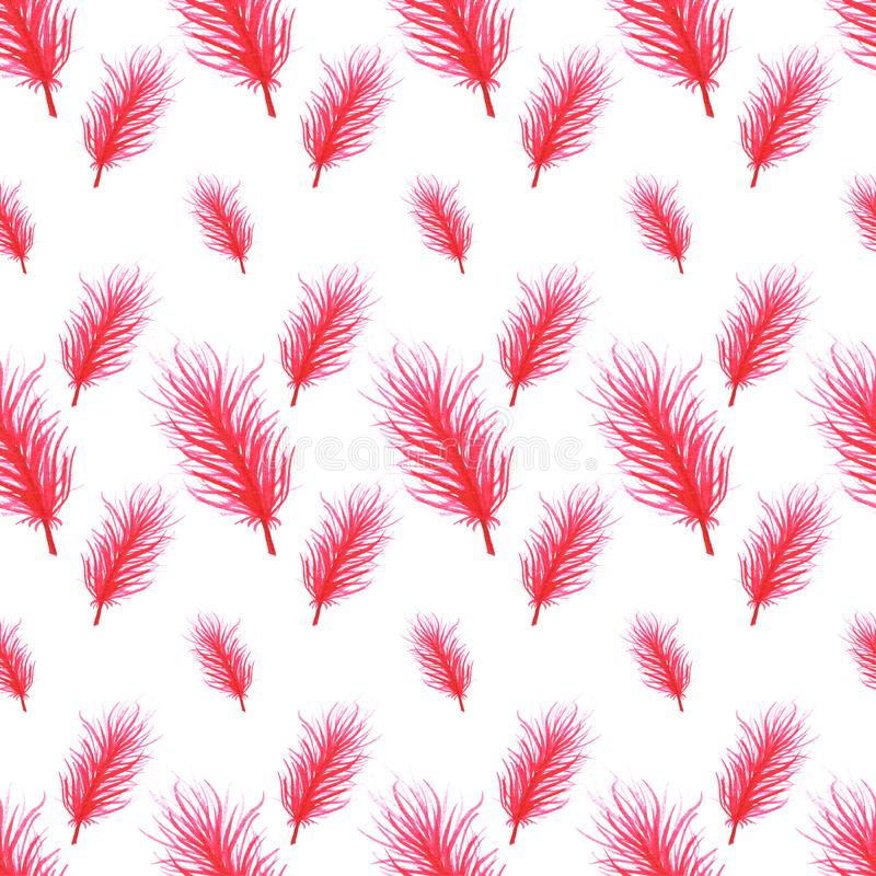 Watercolor feathers abstract seamless pattern background. Template for a business card, banner, poster, notebook. Invitation. Illustration for your design vector illustration