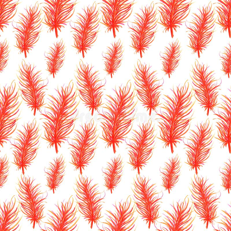 Watercolor feathers abstract seamless pattern background. Template for a business card, banner, poster, notebook. Invitation. Illustration for your design stock illustration