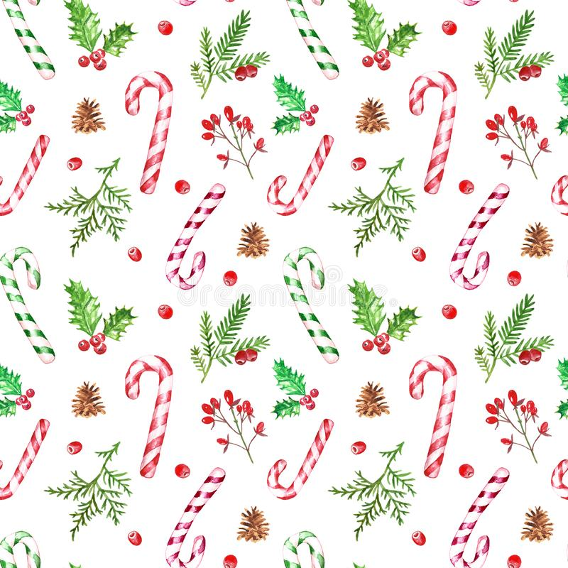 Watercolor festive Christmas pattern with pine cones, greenery branches, candy canes, holly, red berries. Winter holiday design stock illustration