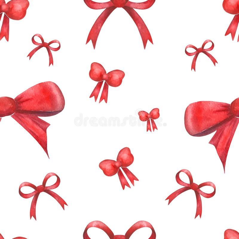 Watercolor festive pattern of handmade with bows of different types. stock images
