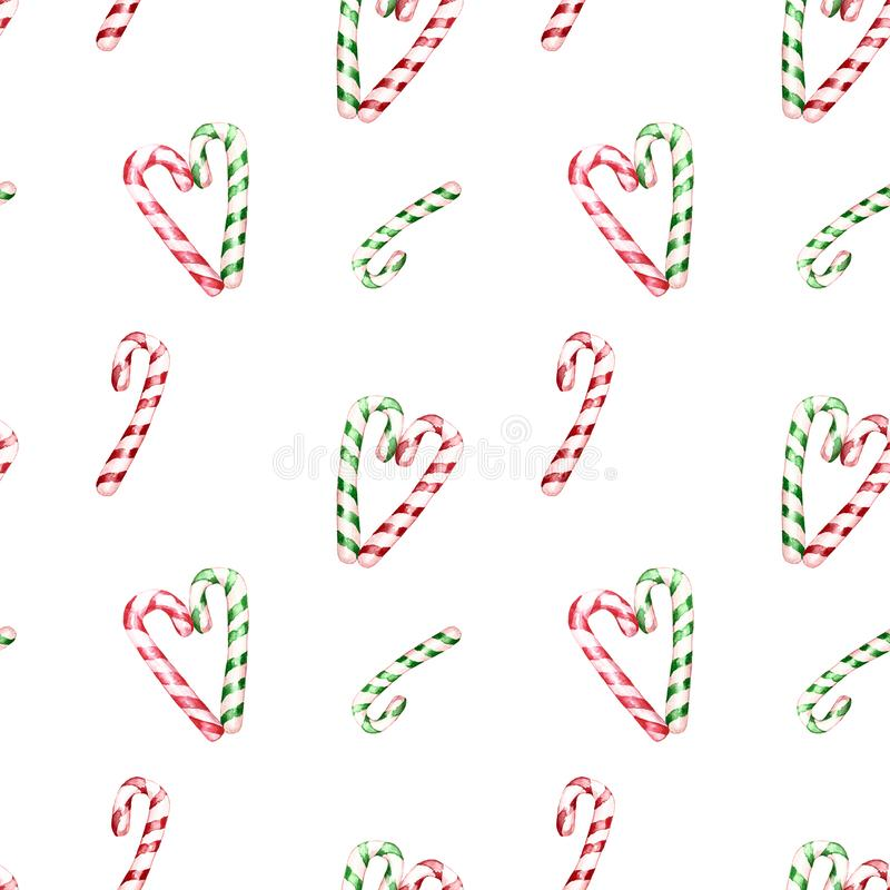 Watercolor festive winter seamless pattern with green and red striped candy canes.Christmas holiday design for textile, cards. Watercolor Christmas seamless stock illustration