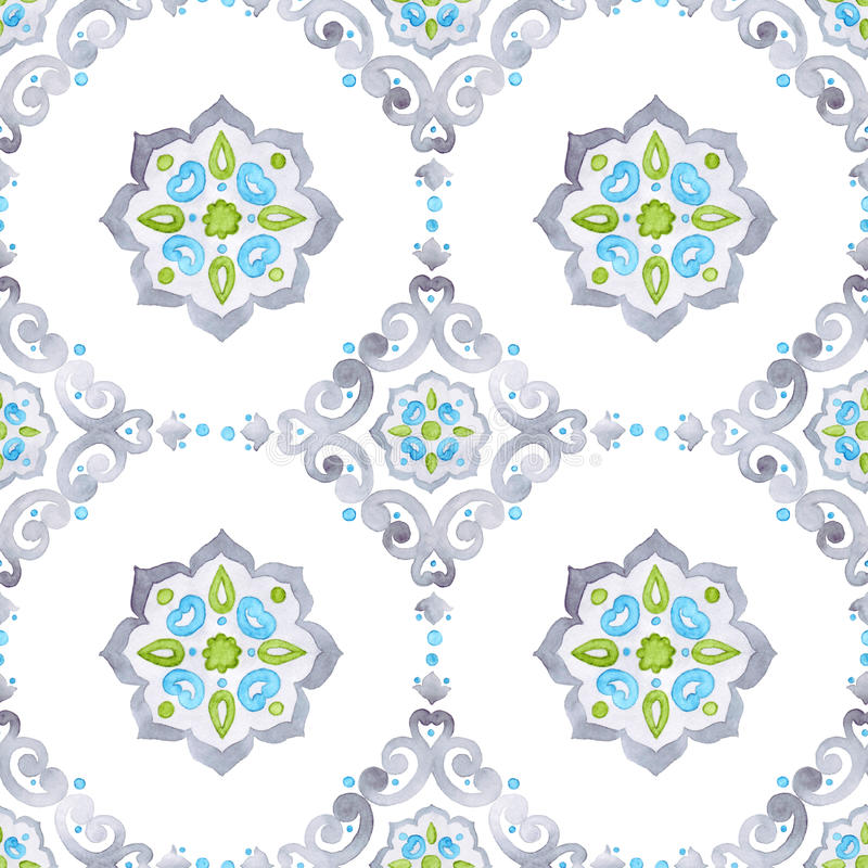 Watercolor filigree seamless pattern. Renaissance tiling ornament. Delicate pastel openwork lace pattern. Soft gray, blue, and green revival tracery design vector illustration