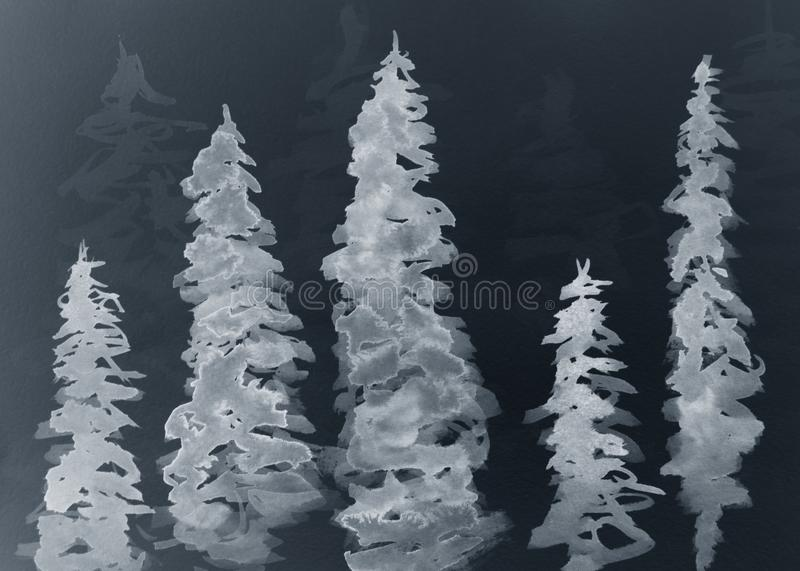Watercolor fir-tree. On a black background vector illustration