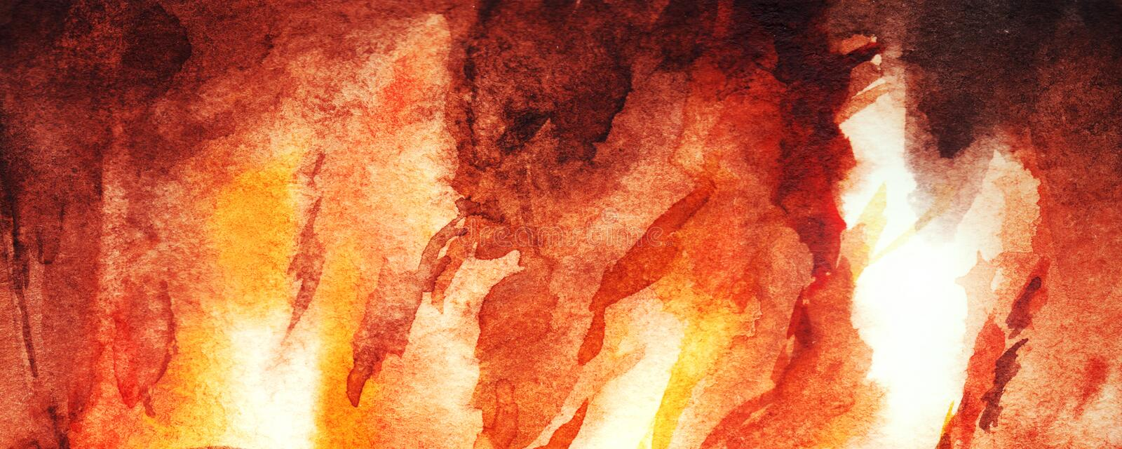 Watercolor fire flame fireplace abstract texture background.  royalty free illustration