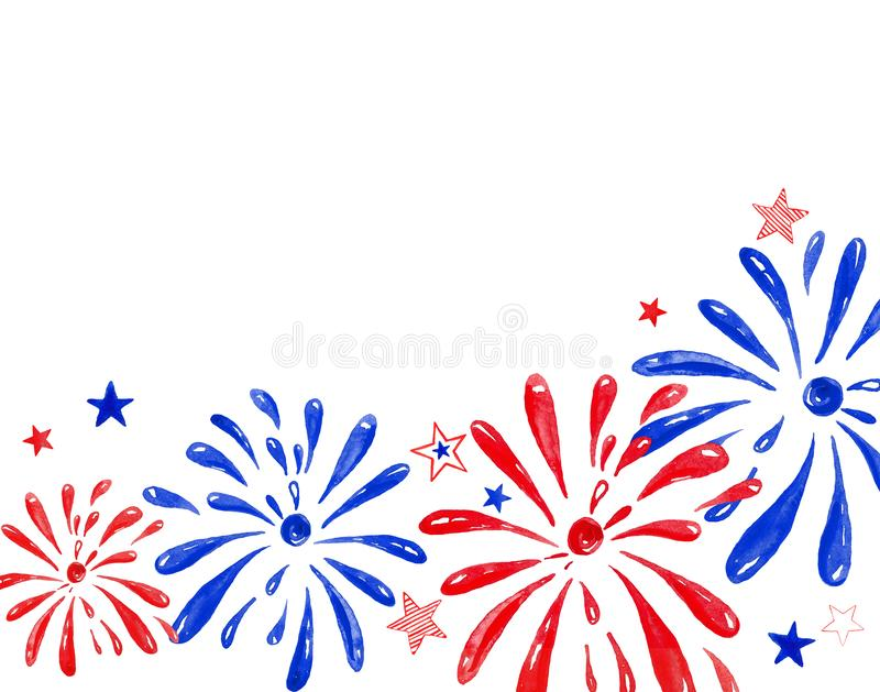 Watercolor firework saluting festival, hand painted festive banner for holiday events, memorial day, New Year, 4th of july. stock illustration