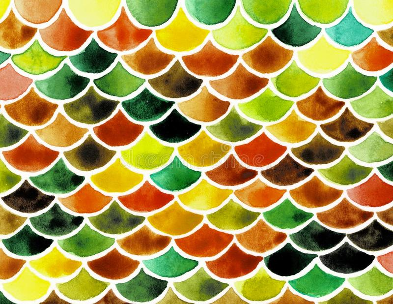 Watercolor fish scales. Bright summer pattern with reptilian scales. vector illustration