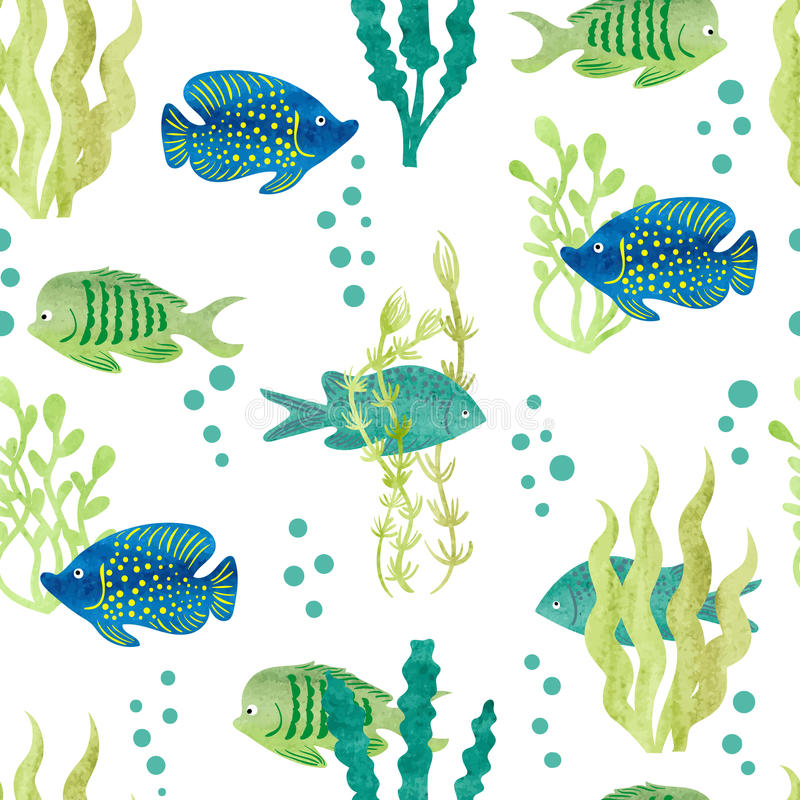 Watercolor fish seamless pattern. stock illustration