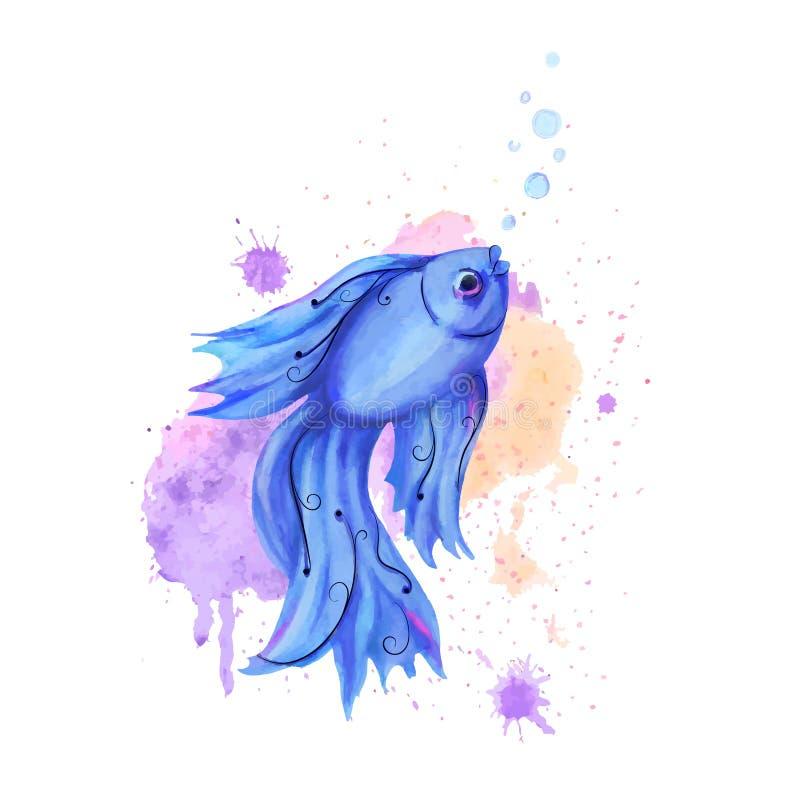 Watercolor fish royalty free illustration