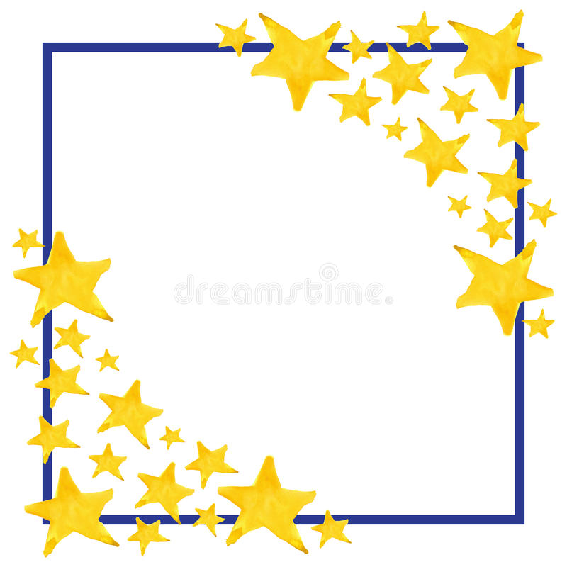 Watercolor five pointed star symbol frame template background.  vector illustration