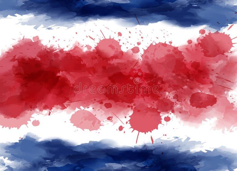 Watercolor flag of Costa Rica stock illustration