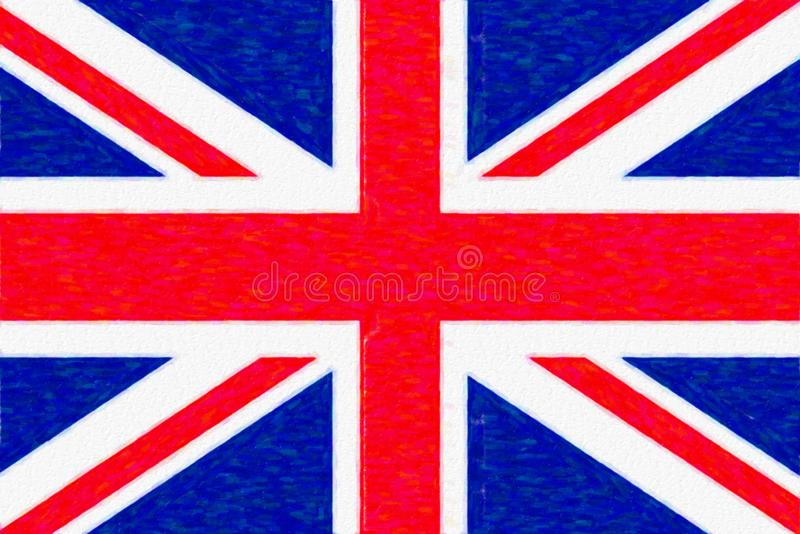 Watercolor flag of Great Britain, paper texture. vector illustration