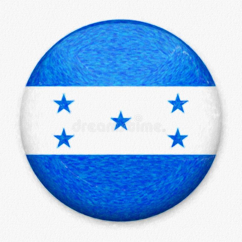 Watercolor Flag of Honduras in the form of a round button stock illustration