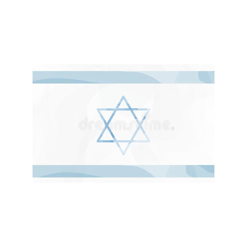 Watercolor flag of Israel. Vector illustration design royalty free illustration