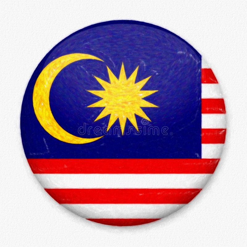Watercolor Flag of Malaysia in the form of a round button royalty free stock photo