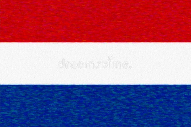 Watercolor flag of Netherlands, paper texture. stock illustration